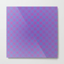 Geometrical abstract pink teal stripes squares pattern Metal Print