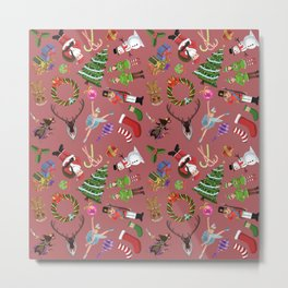 The Elements of Christmas (Pattern) (Red) Metal Print