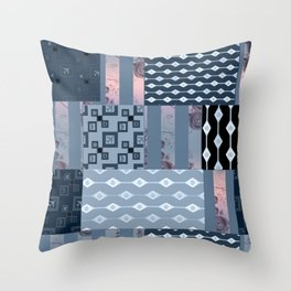 #Pink #blue #patchwork # country Throw Pillow