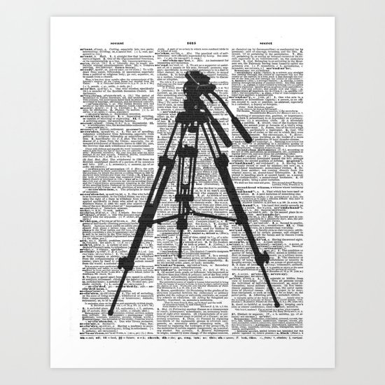 """Camera Tripod"" Dictionary Page - Original Digital Art Print Art Print"
