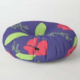 poppys and leaves  Floor Pillow