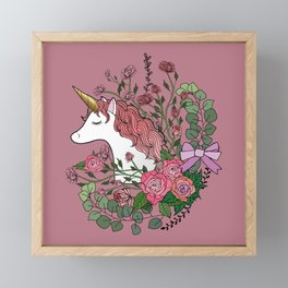 Unicorn in a Pink Rose Garden Framed Mini Art Print