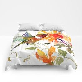 Hummingbird and Orange Floral Design, tropical Hawaiian Colors Comforters
