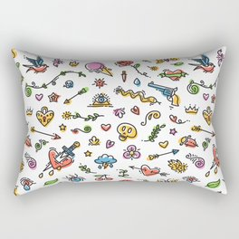 Colorful Funny Old School Tattoo Pattern Rectangular Pillow