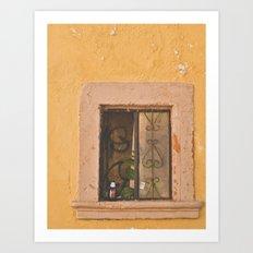 Beer in window in Mexico Art Print