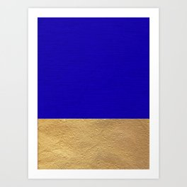 Color Blocked Gold & Cerulean Art Print