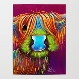 HiGHLaND CoW PRiNT SCoTTiSH ' STaNLeY THe TaRTaN Coo ' BY SHiRLeY MacARTHuR Poster