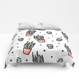 Sansevieria and cactus doodles Comforters