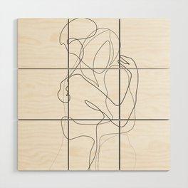 Lovers - Minimal Line Drawing Wood Wall Art