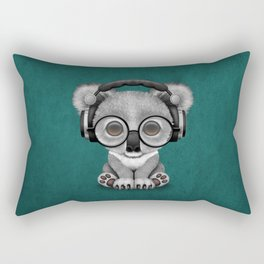 Cute Baby Koala Bear Dj Wearing Headphones on Blue Rectangular Pillow
