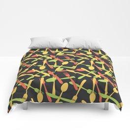Cutlery kitchen silverware colored Comforters