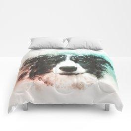 Border Collie Digital Watercolor Painting Comforters