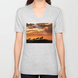 Horses in sunset Unisex V-Neck