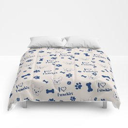 Cute ivory navy blue love Frenchie bulldog typography Comforters