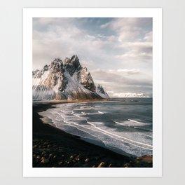 Stokksnes Icelandic Mountain Beach Sunset - Landscape Photography Art Print