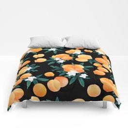 Orange Twist Flower Night Vibes #1 #tropical #fruit #decor #art #society6 Comforters