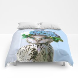 Cool Animal Art - Owl with a Flower Crown Comforters