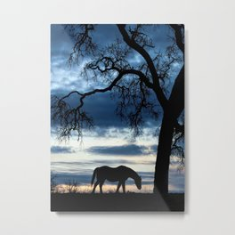 Approaching Storm, Horse and Oak Tree Metal Print