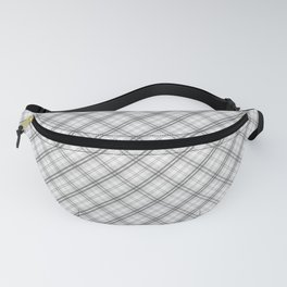 Ghost White and Black Halloween Tartan Check Plaid Fanny Pack