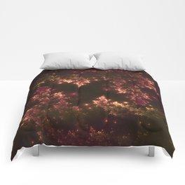 Fractal Leaves Red Glow Comforters