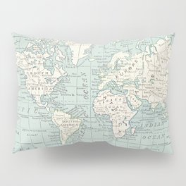 World Map in Blue and Cream Pillow Sham