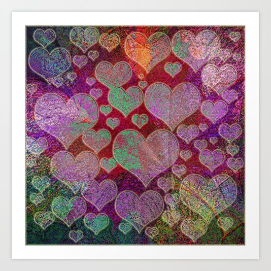 Hearts pattern Art Print