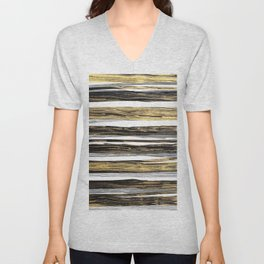 Geometric elegant black silver gold brushstrokes painting Unisex V-Neck
