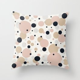 Muted Dots Abstract Minimalist Geometric Pattern in Blush Pink, Black, Sand, and Gray Throw Pillow