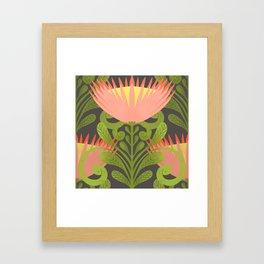 King Protea Flower Pattern - Gray Framed Art Print
