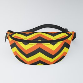 Yellow Orange and Black Chevrons Fanny Pack