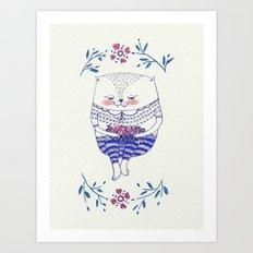 strawberry cat Art Print