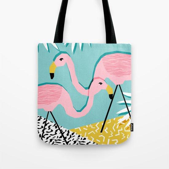 Bro - wacka design memphis throwback minimal retro hipster 1980s 80s neon pop art flamingo lawn Tote Bag