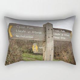 Bilingual Welsh English signpost Rectangular Pillow