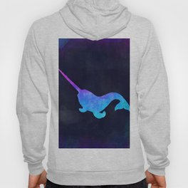 NARWHAL IN SPACE // Animal Graphic Art // Watercolor Canvas Painting // Modern Minimal Cute Hoody