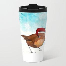 Christmas Robin Metal Travel Mug