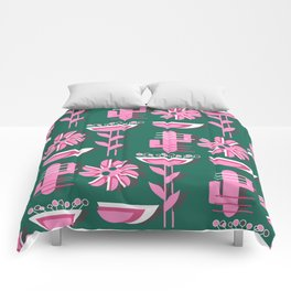 Pink flowers and cacti Comforters