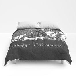Happy Christmas Romantic Snow Scene Chalkboard Comforters