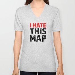 I hate this map Unisex V-Neck