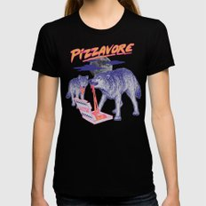 Pizzavore Womens Fitted Tee Black LARGE