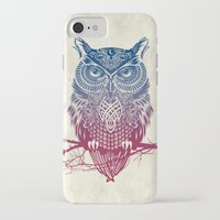 purple iPhone & iPod Cases featuring Evening Warrior Owl by Rachel Caldwell