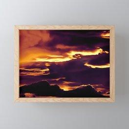 cloudy burning sky reacls Framed Mini Art Print