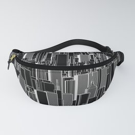 Tall city B&W inverted / Lineart city pattern Fanny Pack