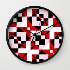Red Black and White Abstract Wall Clock