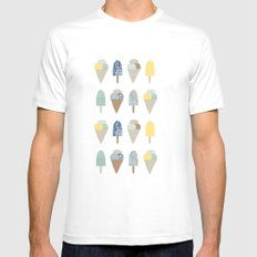 ice cream pattern  Mens Fitted Tee White MEDIUM
