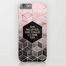 She Believed She Could - Grey Pink iPhone 6s Slim Case