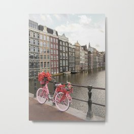 Houses Of Amsterdam Photo   Pink Bike With Flowers Art Print   Europe City Color Travel Photography Metal Print