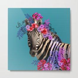 Zebra Flower Fantasy Artwork - Hibiscus Monstera Leaves Metal Print