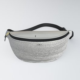 Silver sea boat and seagull seascape Fanny Pack