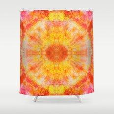 Orange Sunburst Shower Curtain
