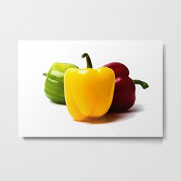 Three Bell Peppers Against The White Background. Yellow Pepper To The Front Metal Print